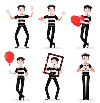 Personaje de dibujos animados mime realizando pantomima conjunto