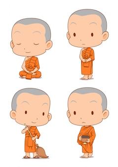Personaje de dibujos animados de monjes budistas en diferentes poses.