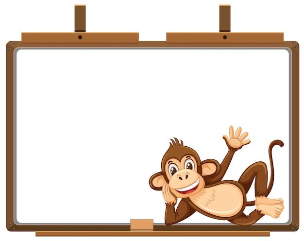 Personaje de dibujos animados mono y banner en blanco sobre blanco
