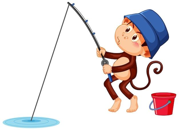 Personaje de dibujos animados de mono de pesca