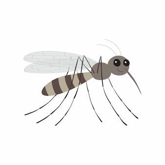 Personaje de dibujos animados de mosquitos. ilustración de vector aislado sobre fondo blanco.