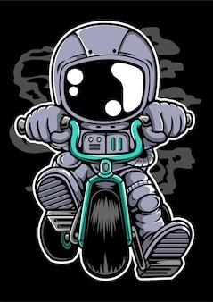 Personaje de dibujos animados de motorista astronauta