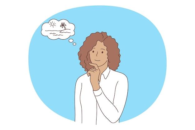 Personaje de dibujos animados de mujer con camisa blanca de pie y soñando con viajar