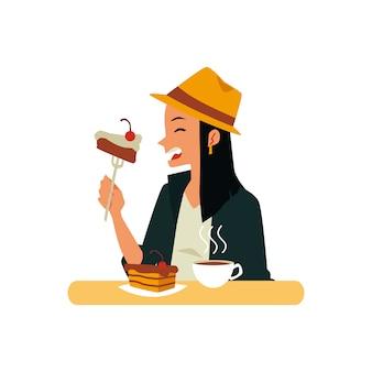 Personaje de dibujos animados mujer disfrutando de café y pastel, ilustración vectorial plana aislado. avatar de niña comiendo en la cafetería al mediodía.