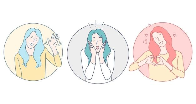 Personaje de dibujos animados de mujer joven saludando y saludando