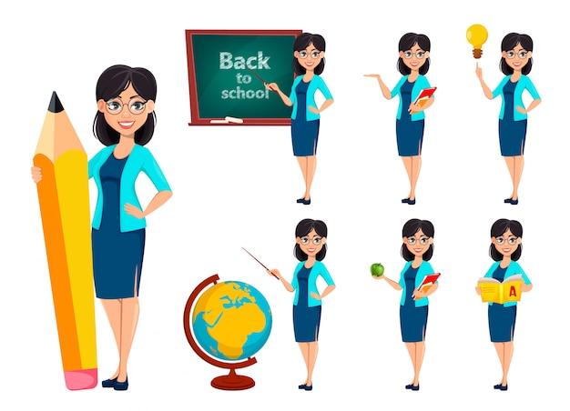 Personaje de dibujos animados de mujer maestra