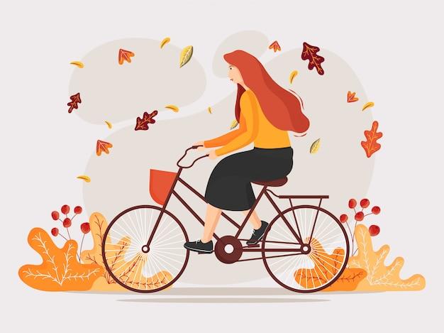 Personaje de dibujos animados de mujer montando bicicleta en el fondo del bosque.