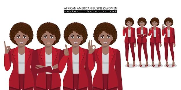 Personaje de dibujos animados de mujer de negocios afroamericana en diferentes poses