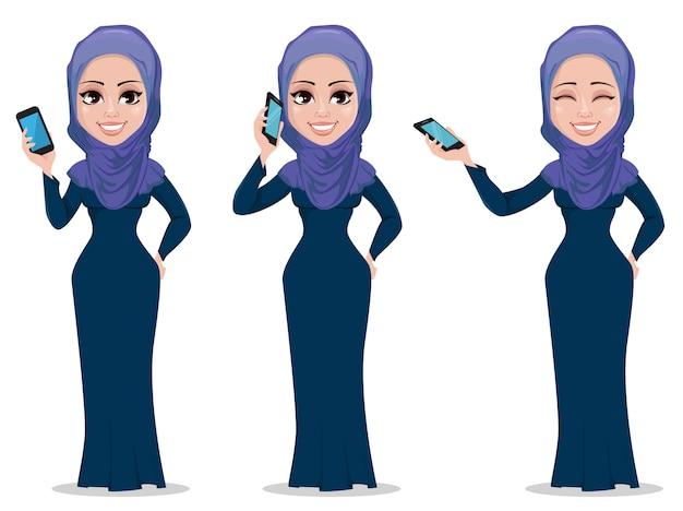 Personaje de dibujos animados de mujer de negocios árabe