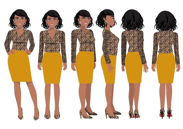 Personaje de dibujos animados con mujer de negocios en camisa con estampado de leopardo para animación