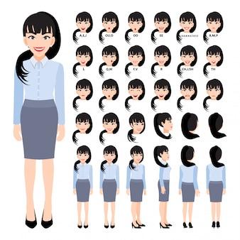 Personaje de dibujos animados con mujer de negocios en camisa inteligente para animación. frontal, lateral, posterior, 3-4 caracteres de vista. separar partes del cuerpo.