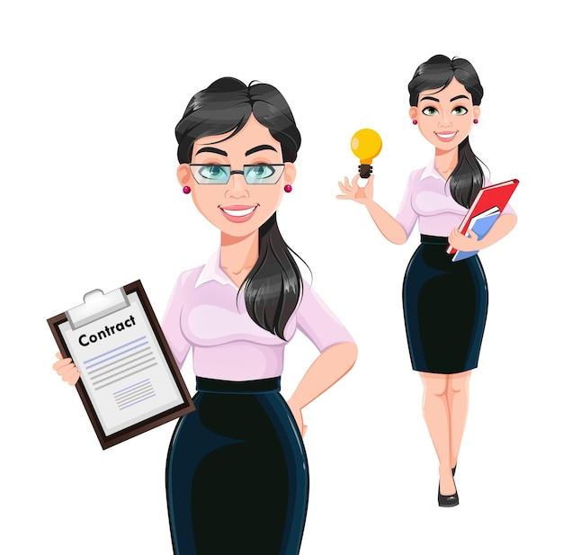 Personaje de dibujos animados de mujer de negocios exitosa hermosa, conjunto de dos poses