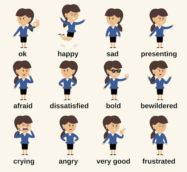 Personaje de dibujos animados de mujer de negocios feliz y triste conjunto de emociones aisladas ilustración vectorial