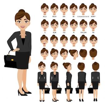 Personaje de dibujos animados con mujer de negocios en traje de animación.