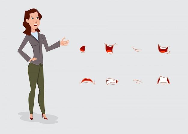 Personaje de dibujos animados de mujer de negocios con varias emociones faciales.