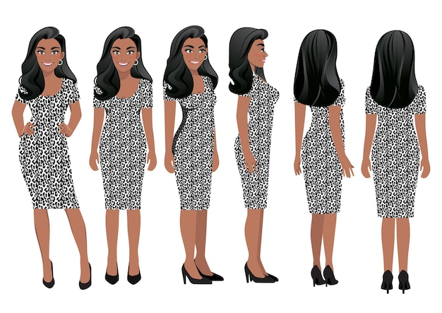Personaje de dibujos animados con mujer de negocios en vestido estampado de leopardo para animación