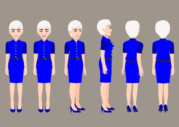 Personaje de dibujos animados con mujer de negocios en vestido hermoso para la animación. frontal, lateral, posterior, 3-4 caracteres de vista.