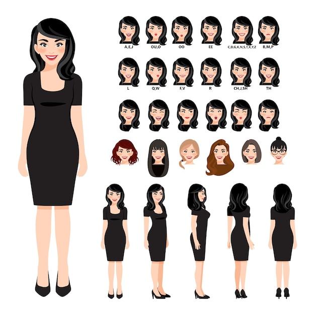 Personaje de dibujos animados con mujer de negocios en vestido negro para animación