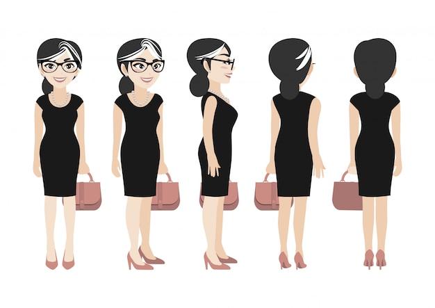 Personaje de dibujos animados con mujer de negocios.