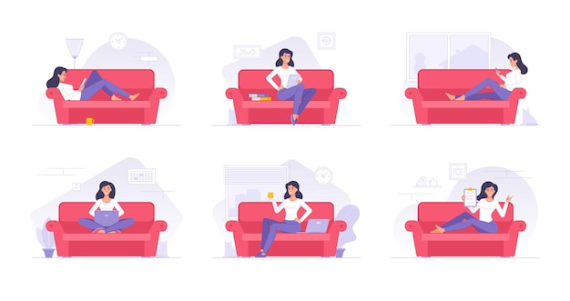 Personaje de dibujos animados mujer pasar tiempo en casa ilustraciones planas