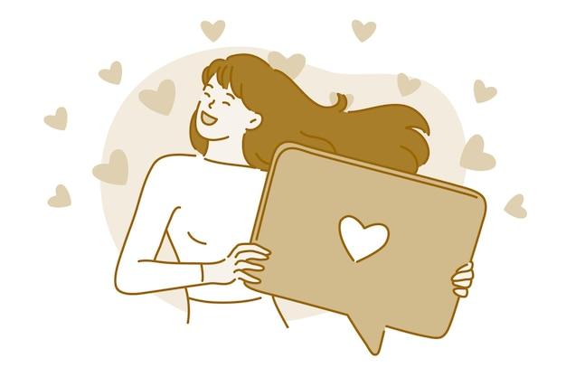 Personaje de dibujos animados de mujer de pie sosteniendo una computadora portátil o una burbuja de mensaje