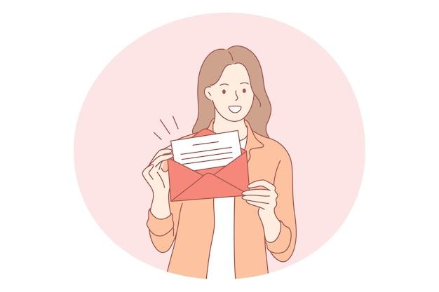 Personaje de dibujos animados de mujer de pie sosteniendo un sobre abierto