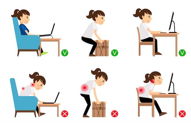Personaje de dibujos animados de mujer sentado y trabajando