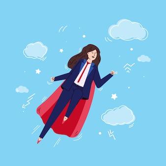 Personaje de dibujos animados de mujer super heroína en capa roja de superhéroe y traje de negocios, dibujo ilustración vectorial en el cielo. supermujer personaje poderoso y fuerte.