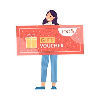 Personaje de dibujos animados de mujer con vale de regalo, ilustración vectorial plana aislado.