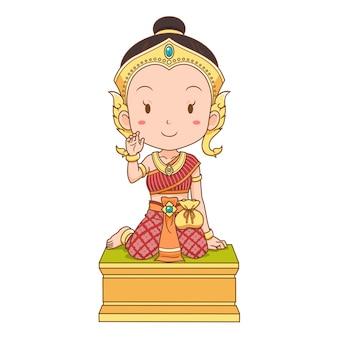 El personaje de dibujos animados de nang kwak es una divinidad familiar del folklore tailandés. se considera que trae buena fortuna, riqueza, prosperidad, atrae clientes a un negocio.