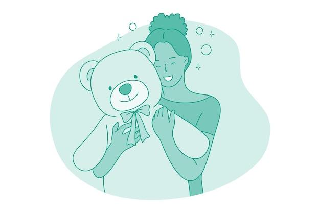 Personaje de dibujos animados de niña abrazando gran osito de peluche de juguete con las manos