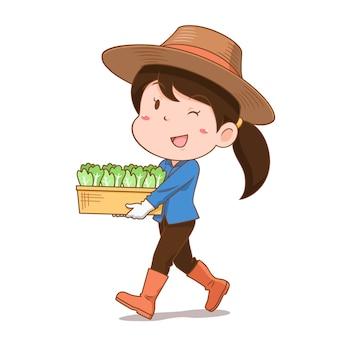 Personaje de dibujos animados de la niña agricultor llevando verduras.
