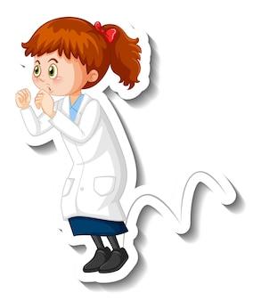 Personaje de dibujos animados de niña científica hacer experimento de salto
