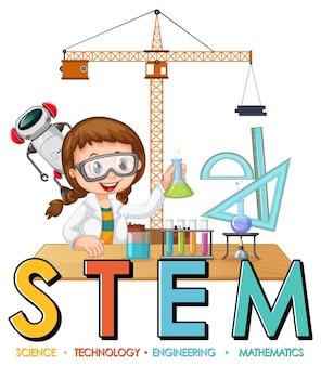 Personaje de dibujos animados de niña científica con logo de educación stem