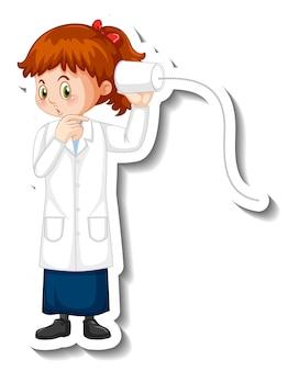 Personaje de dibujos animados de niña científica con objeto de experimento científico