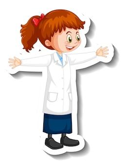 Personaje de dibujos animados de niña científico en pose de pie