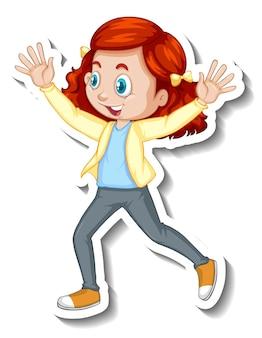Personaje de dibujos animados de niña feliz pegatina