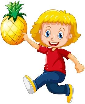 Personaje de dibujos animados de niña feliz sosteniendo una piña