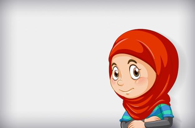 Personaje de dibujos animados de niña feliz