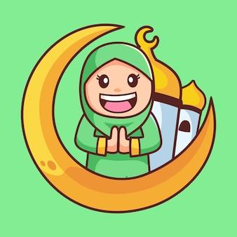 Personaje de dibujos animados de niña hijab musulmán feliz