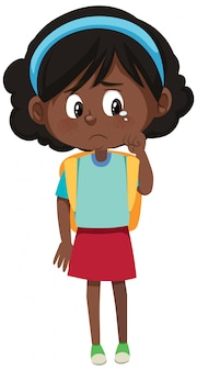 Personaje de dibujos animados de niña llorando