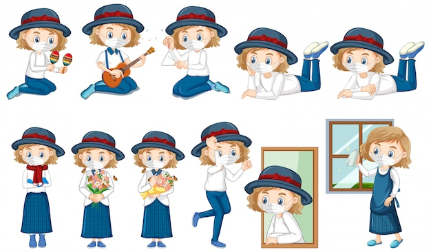 Personaje de dibujos animados de niña con máscara