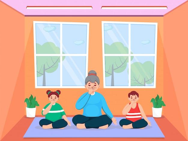 Personaje de dibujos animados de niña con niños haciendo yoga de respiración de fosa nasal alternativa en casa.