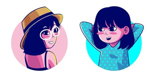 Personaje de dibujos animados de niña de pelo corto
