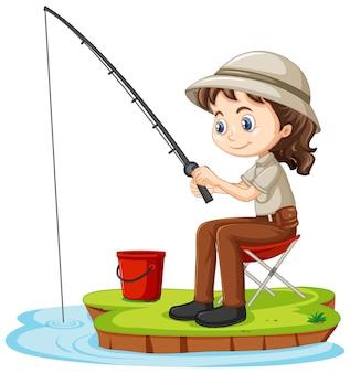 Un personaje de dibujos animados de niña sentada y pescando en blanco
