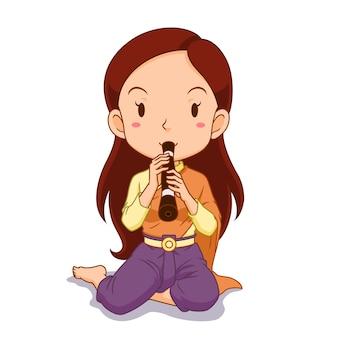 Personaje de dibujos animados de niña tocando el clarinete tradicional tailandés.