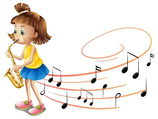 Personaje de dibujos animados de una niña tocando el saxofón con símbolos de melodía musical