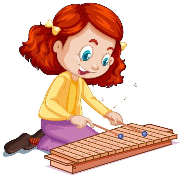 Un personaje de dibujos animados de niña tocando el xilófono.