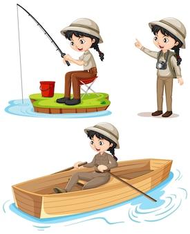 Personaje de dibujos animados de una niña en trajes de campamento realizando diferentes actividades