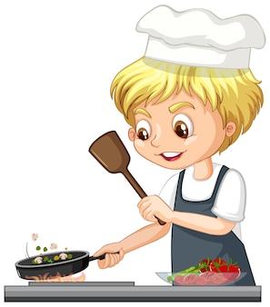Personaje de dibujos animados de un niño chef cocinando comida